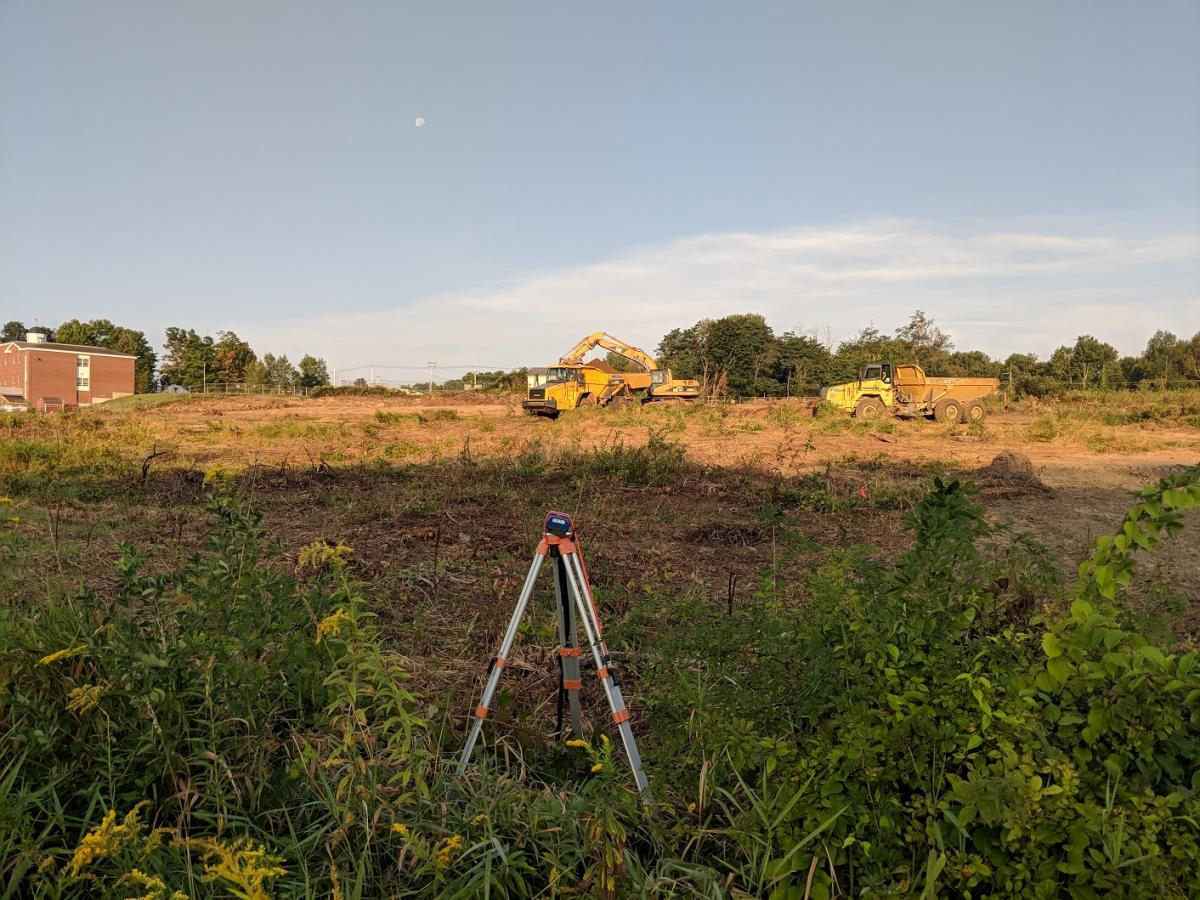 View of the Site with dust meter in the foreground.