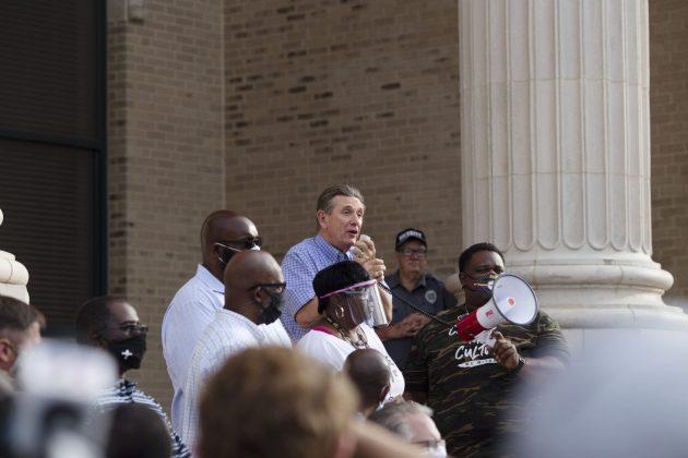 <p><p>Mayor Bob Apgar speaks at a protest June 2.</p></p><p>PHOTO COURTESY LISA RICKMAN</p>