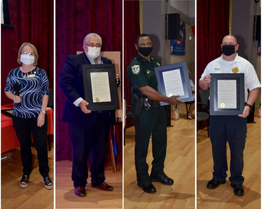 <p><p>DeBary Mayor Karen Chasez gave a proclamation to the following official representatives: DeBary City Manager Carmen Rosamonda, Volusia County Sheriff's Department Captain George Maddox, and Orange City Fire Chief Ronnie Long.</p></p><p>PHOTO COURTESY GATEWAY CENTER FOR THE ARTS</p>