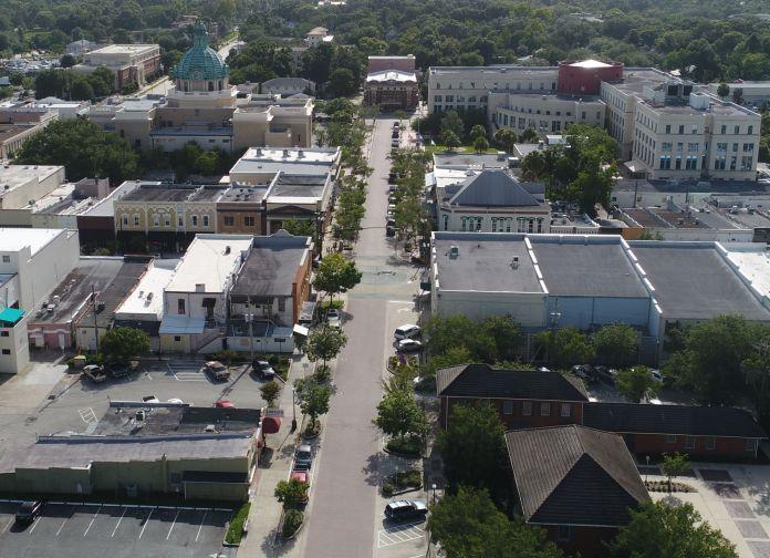 Downtown DeLand drone shot