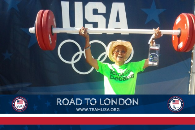 Photo of Pamela Pryor showing her strength at a Summer Olympic Event in Decatur.