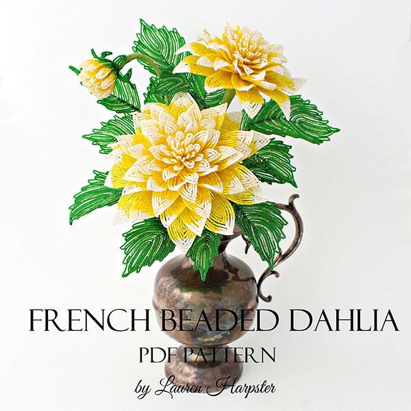 French Beaded Dahlia pattern by Lauren Harpster