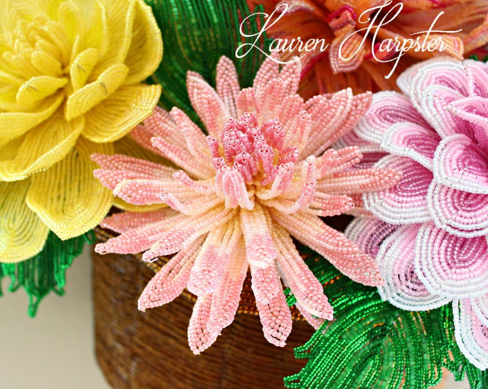French Beaded Cactus Dahlia by Lauren Harpster