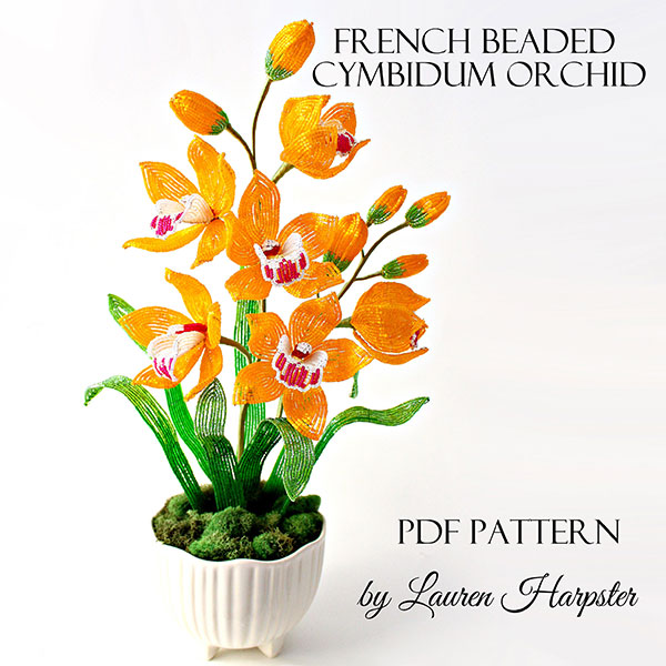 French Beaded Cymbidium Orchid pattern by Lauren Harpster