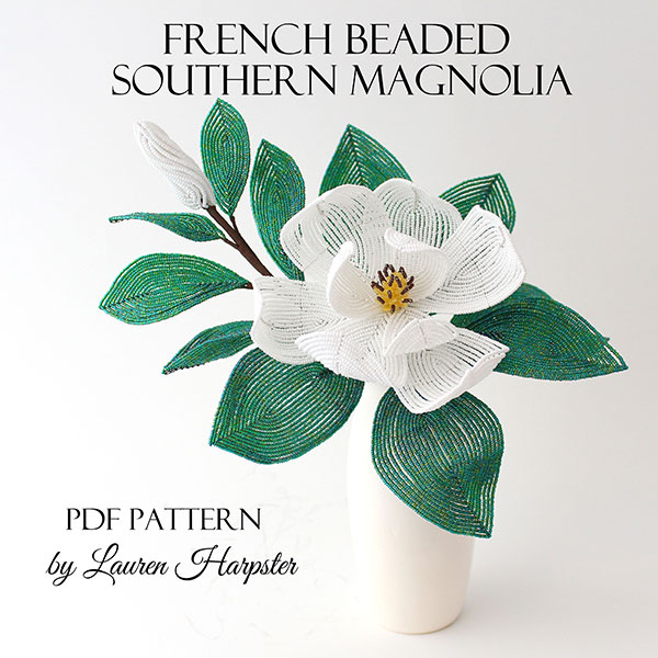 French Beaded Southern Magnolia pattern by Lauren Harpster