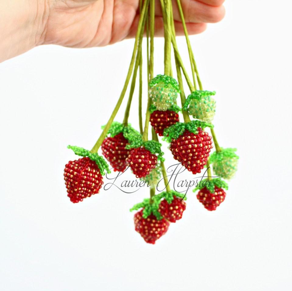Beaded Strawberries by Lauren Harpster