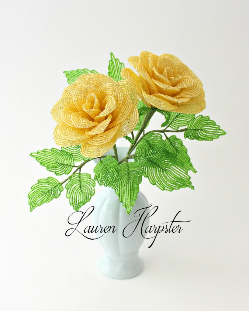 french beaded yellow roses by Lauren Harpster