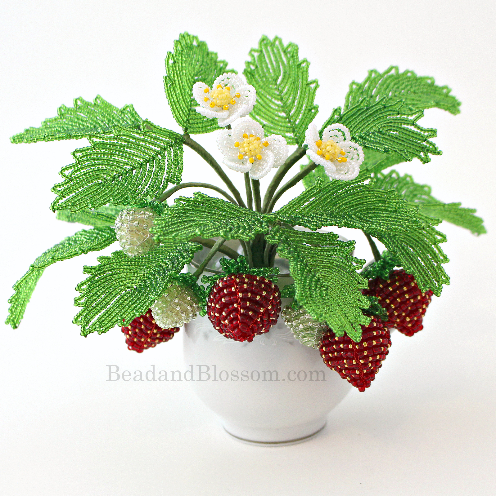 French Beaded Strawberry pattern by Lauren Harpster and Suzanne Steffenson