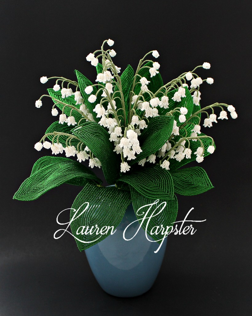 French Beaded Lily of the Valley bouquet by Lauren Harpster