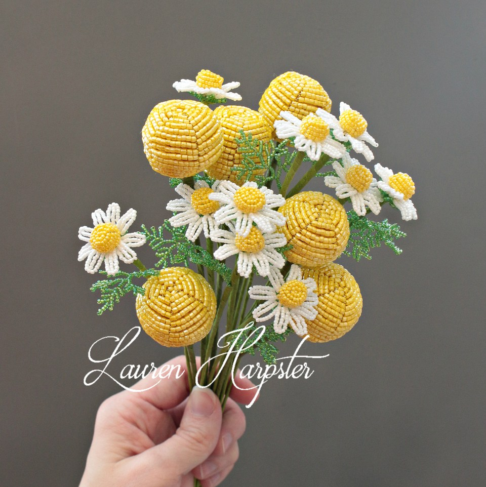 French Beaded Billy Balls and Chamomile by Lauren Harpster