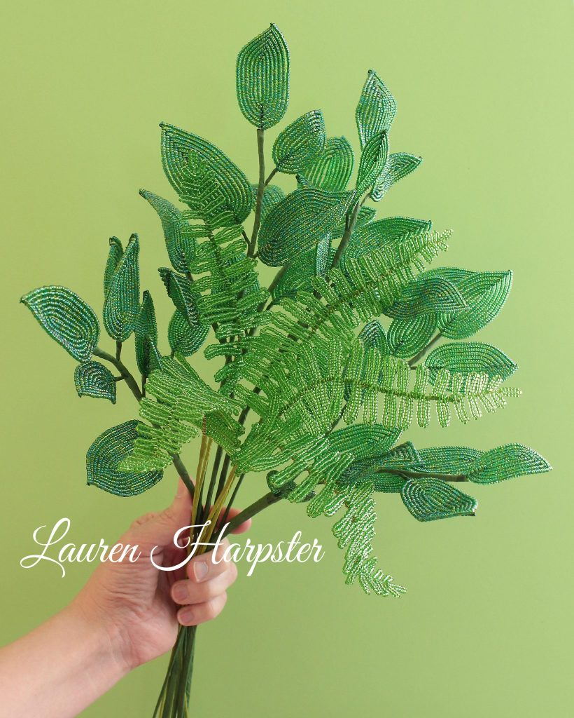 French Beaded Boston Fern and Salal Leaves by Lauren Harpster