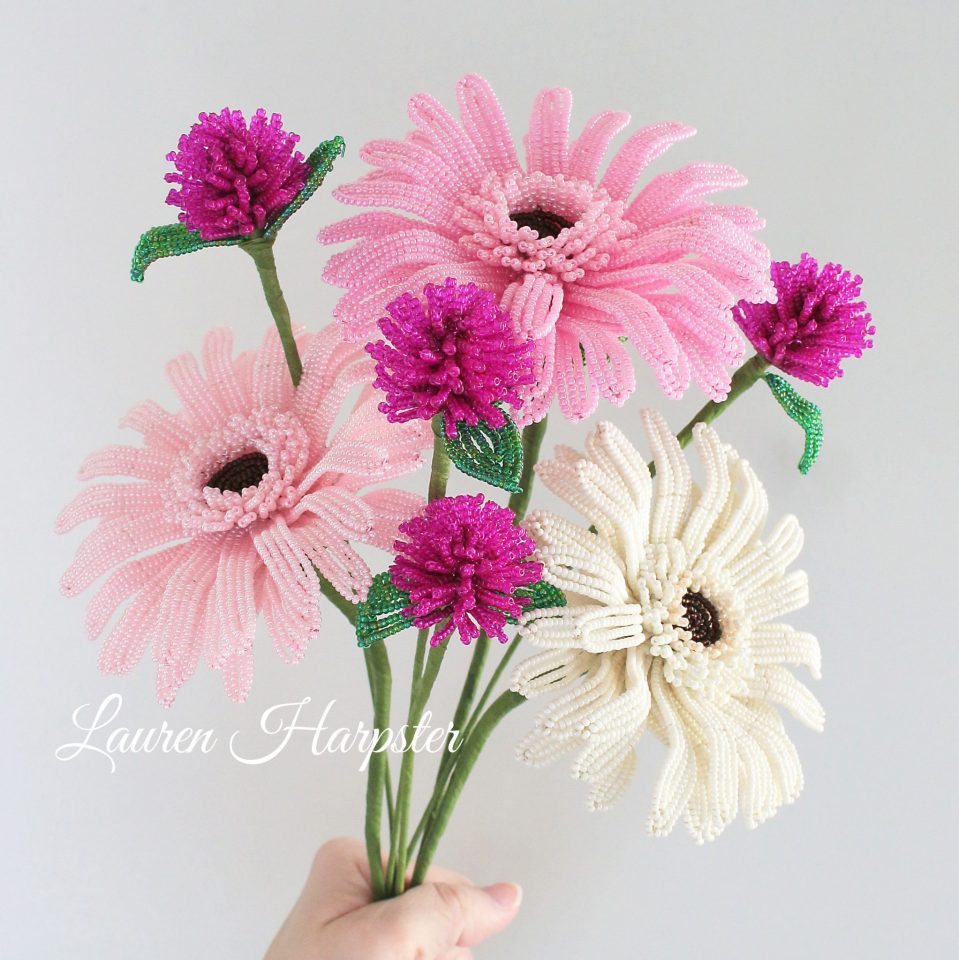 French Beaded Gerbera Daisies and Globe Amaranth by Lauren Harpster