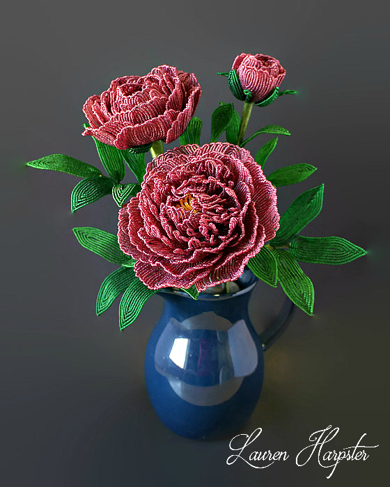 French Beaded Peonies by Lauren Harpster
