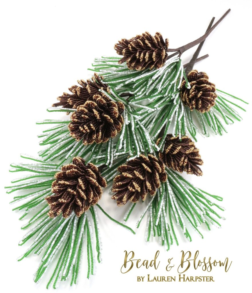 French Beaded Pine Cone Branches by Lauren Harpster