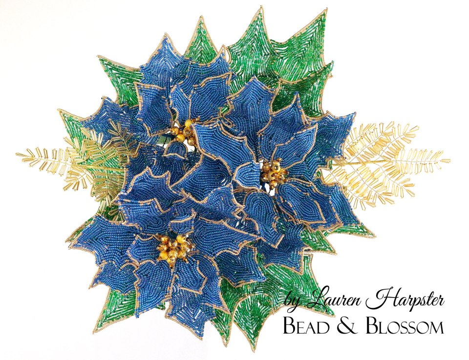 French Beaded Poinsettias by Lauren Harpster - 2019 Christmas Wreath in progress
