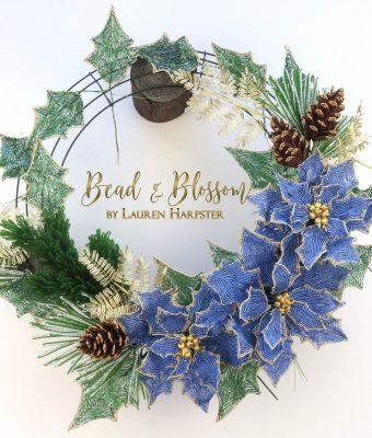 French Beaded Christmas Wreath progress picture - Lauren Harpster