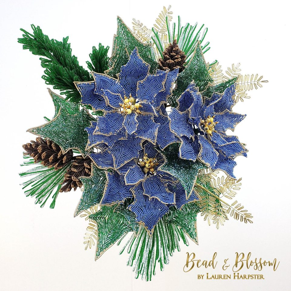 French Beaded Christmas wreath one-a-day project update - Lauren Harpster