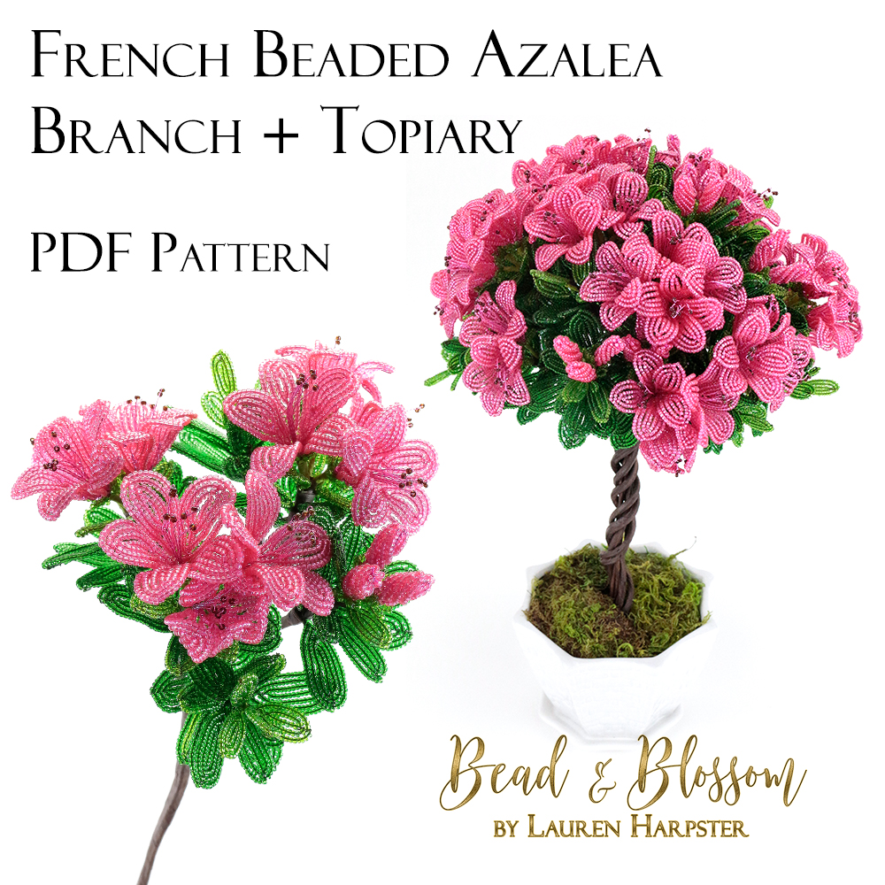 French Beaded Azalea Branch and Topiary pattern by Lauren Harpster