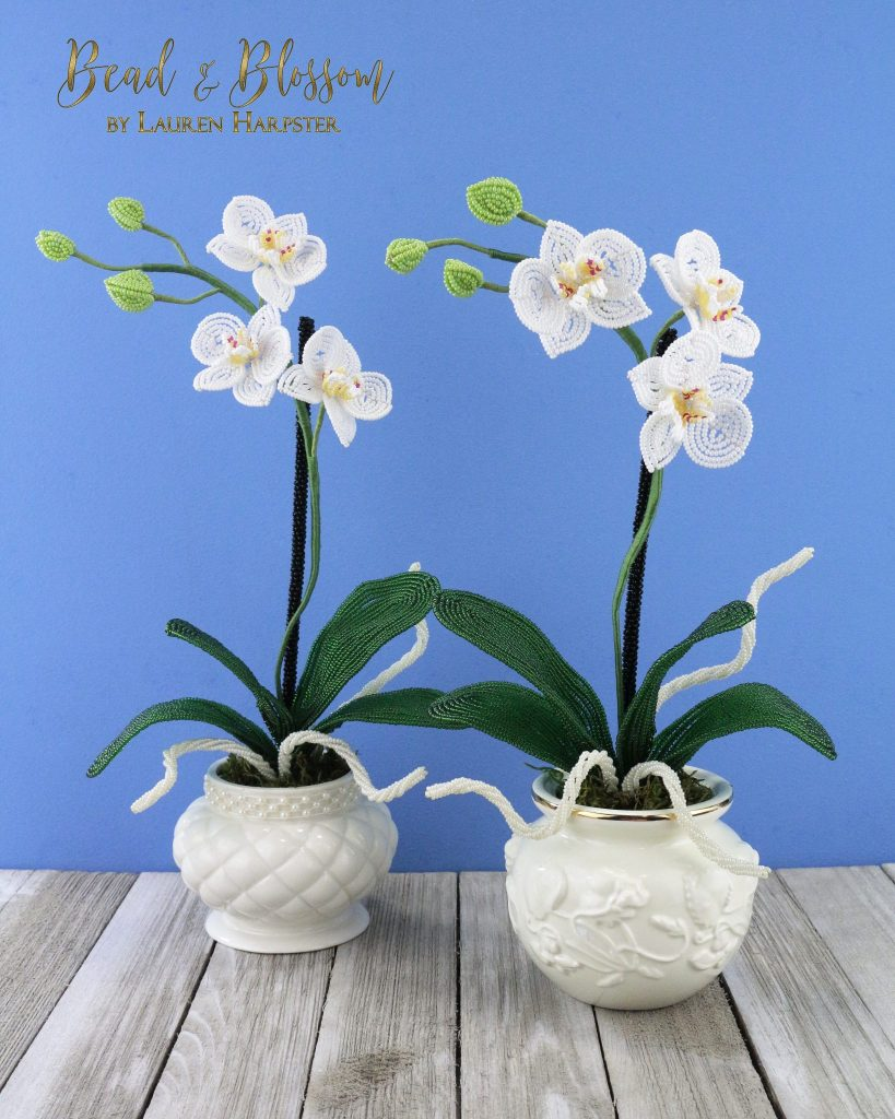 Mini French Beaded Moth Orchids by Lauren Harpster
