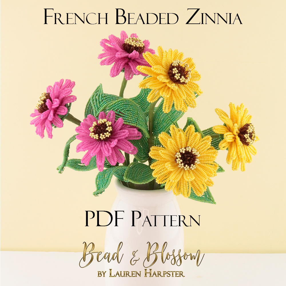 French Beaded Zinnia by Lauren Harpster