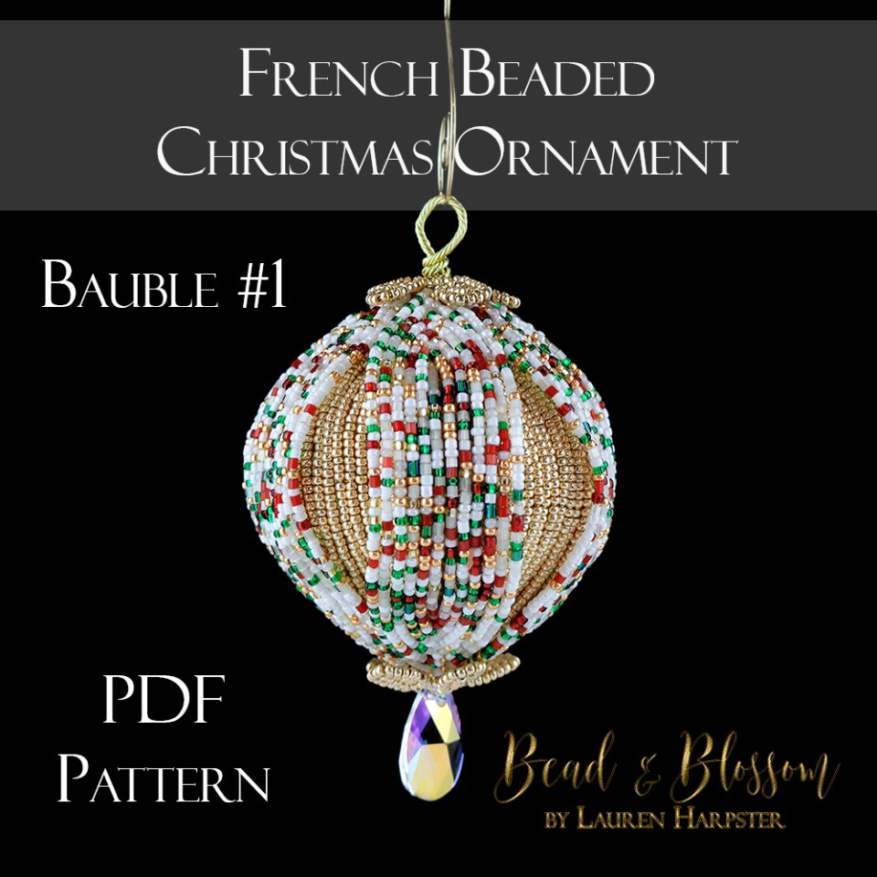 French Beaded Christmas ornament Bauble 1 by Lauren Harpster