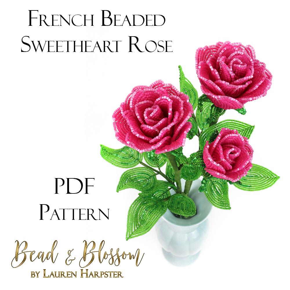 French Beaded Sweetheart Rose by Lauren Harpster