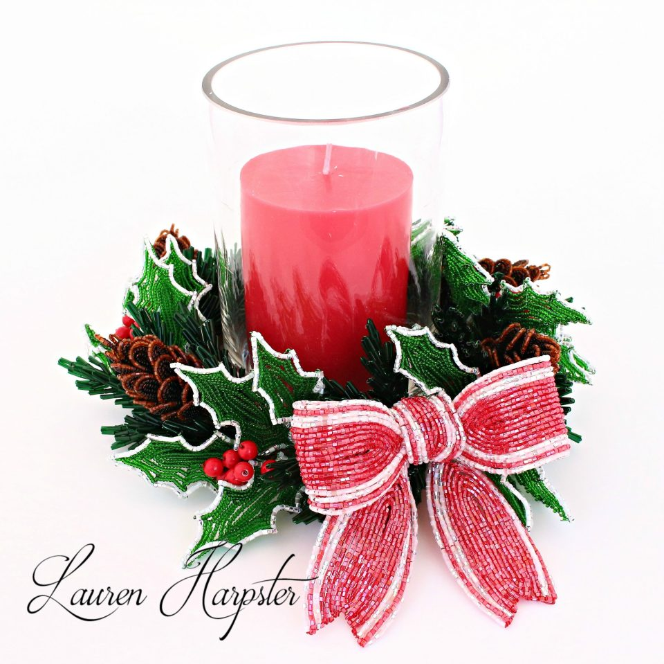 French Beaded pinecone and holly candle ring by Lauren Harpster