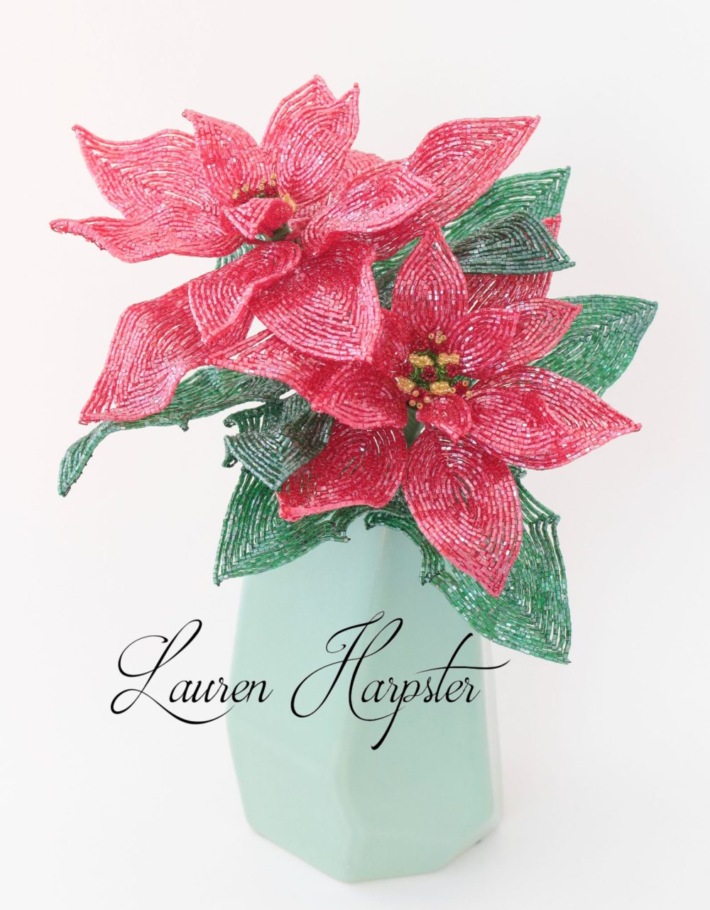 French Beaded Poinsettias by Lauren Harpster