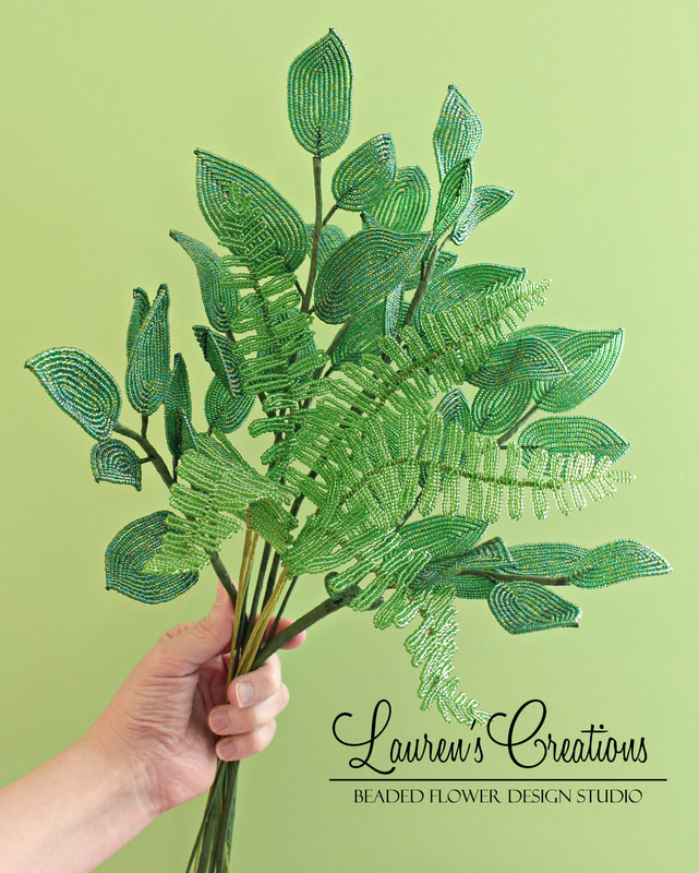 French Beaded Leaves, Boston Fern, by Lauren Harpster
