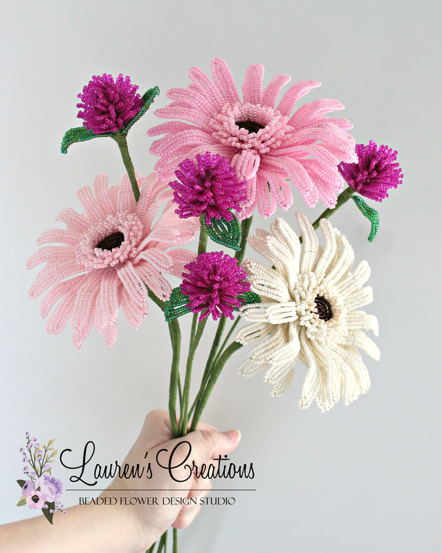 French Beaded Gerbera Daisies by Lauren Harpster