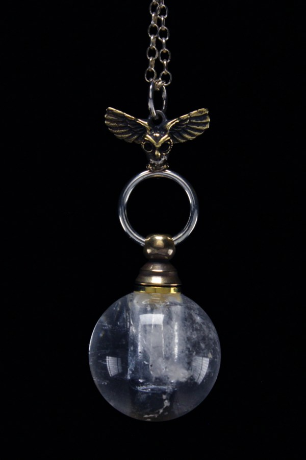 Crystal Ball Necklace with Quartz Bottle