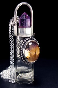 Beautiful Ametrine Multi Faceted Stone and Crystal Sterling Silver Rollerball Necklace