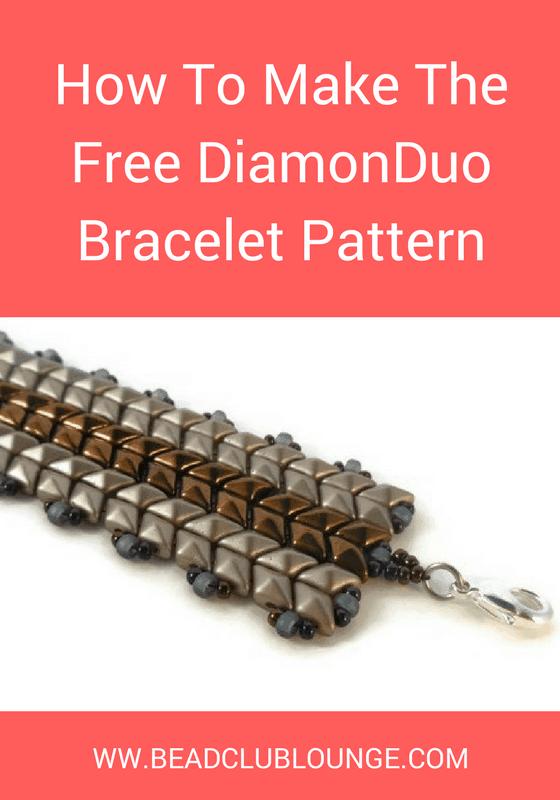 Make the stunning DiamonDuo Bracelet using this free beading pattern. This beaded bracelet is made with flat Herringbone Stitch.