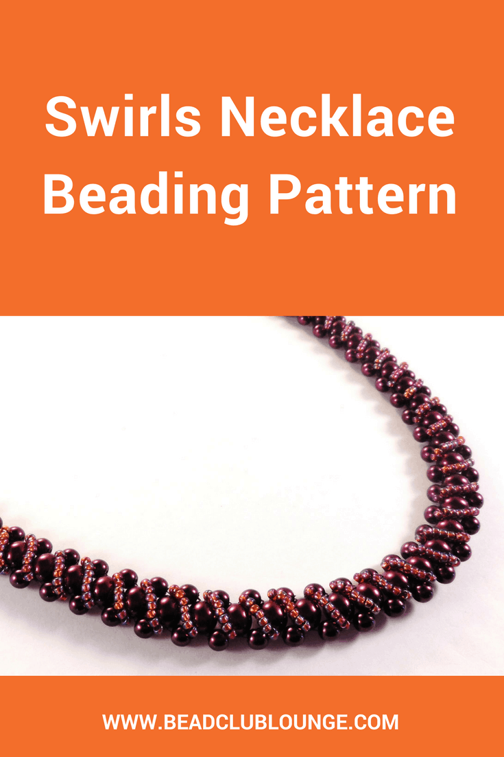 The Swirls Necklace beading pattern is the perfect project for beginners or anyone looking for any easy and elegant Right Angle Weave project.