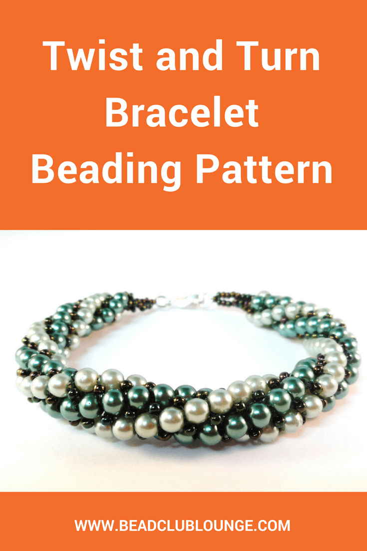 Two colours of 4mm round pearls spiral around each other in the elegant Twist and Turn bracelet. This beading pattern would also make a fantastic necklace!
