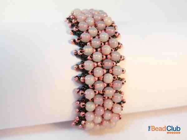Click to grab the Caught in the Net Bracelet beading pattern which uses Netting Stitch. The bracelet is embellished with 4mm round beads and seed beads.