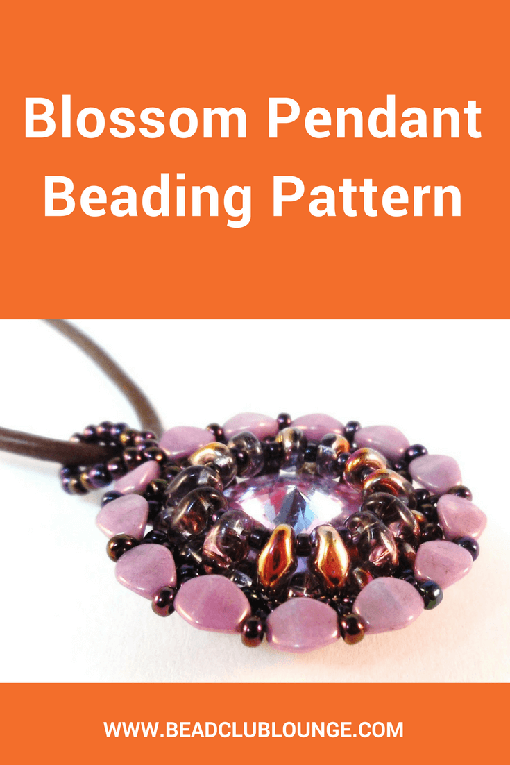 The Blossom Pendant is a SuperDuo bezel that captures a Swarovski rivoli. It is embellished with seed beads and Pinch beads.