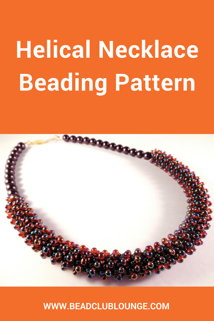 The Helical Necklace is a gorgeous spiral necklace beading pattern. It has a unique texture created using 3.4 mm Drop beads.