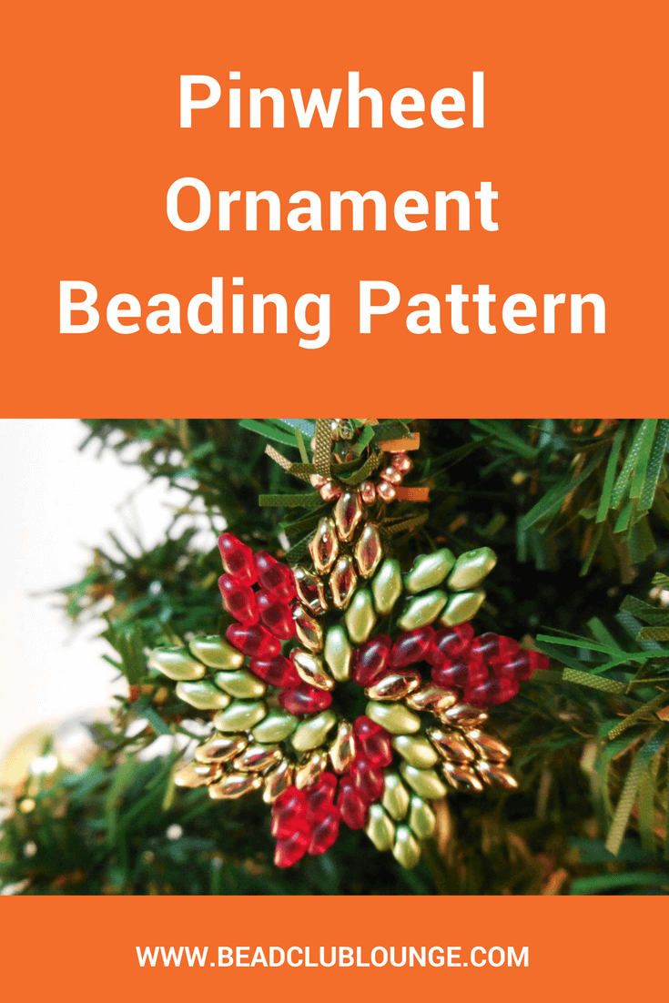 Make your own beaded Christmas ornaments with this Pinwheel Ornament beading pattern suitable for beaders of all skill levels!