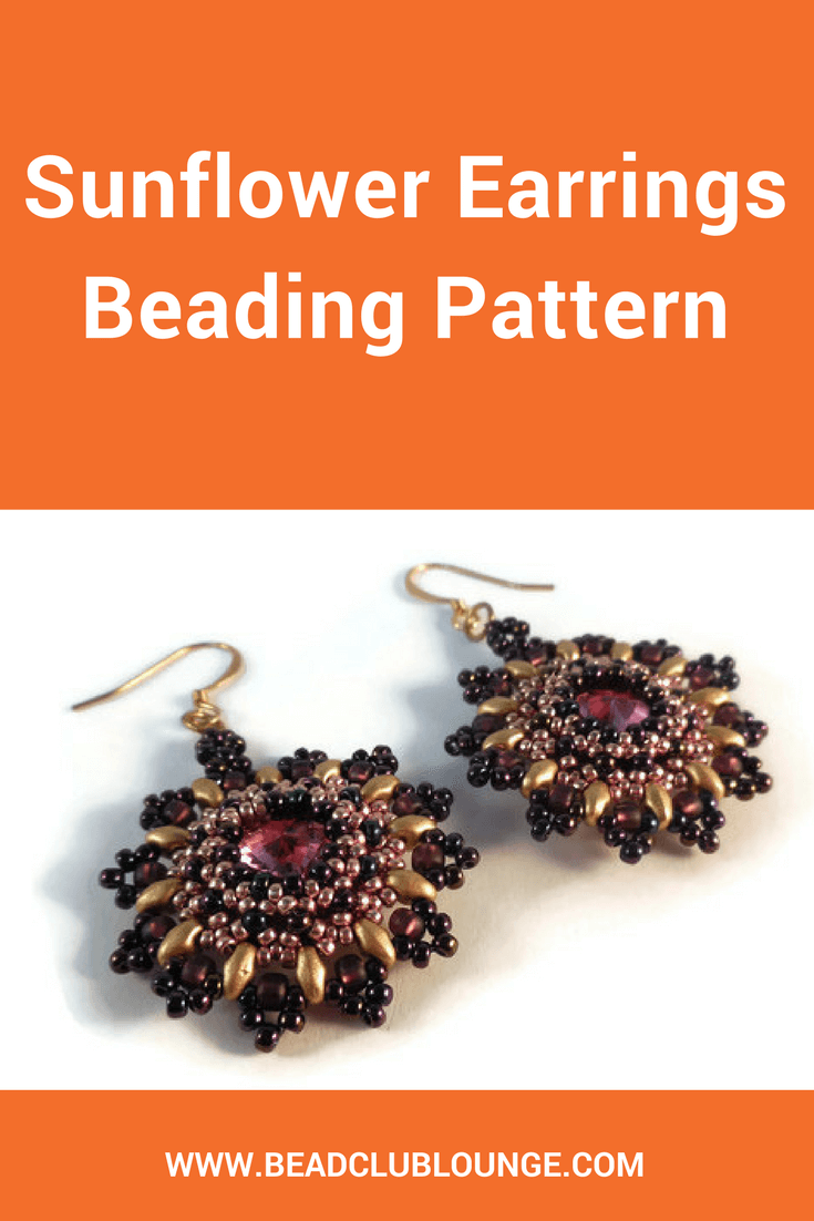 The Sunflower Earrings beading pattern uses MiniDuo beads to frame a sparkling Swarovski rivoli set in a right-angle weave bezel.