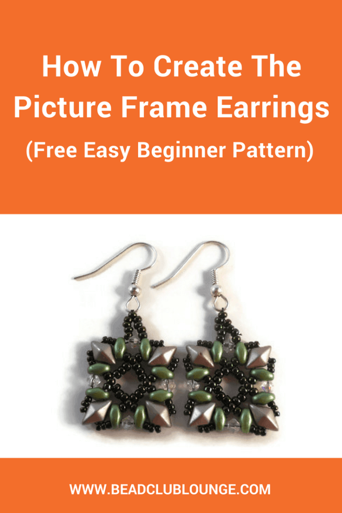 The Picture Frame Earrings tutorial is a free beginner beading pattern that uses DiamonDuo beads, SuperDuo beads, bicones and seed beads.