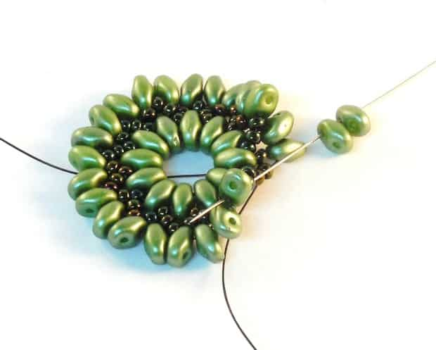 Step 10 of Starburst Earrings Tutorial- Simple Free Beaded Earring Pattern