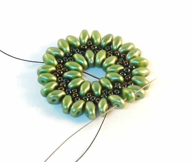 Step 11 of Starburst Earrings Tutorial- Simple Free Beaded Earring Pattern