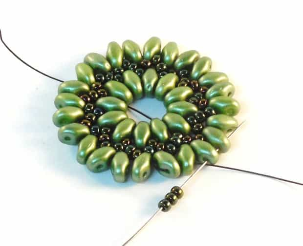 Step 12 of Starburst Earrings Tutorial- Simple Free Beaded Earring Pattern
