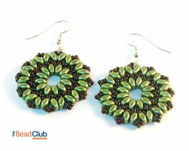 Completed Beaded Starburst Earrings- Simple Free Beaded Earring Pattern
