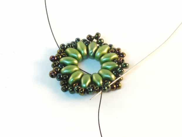 Step 8 of Starburst Earrings Tutorial- Simple Free Beaded Earring Pattern