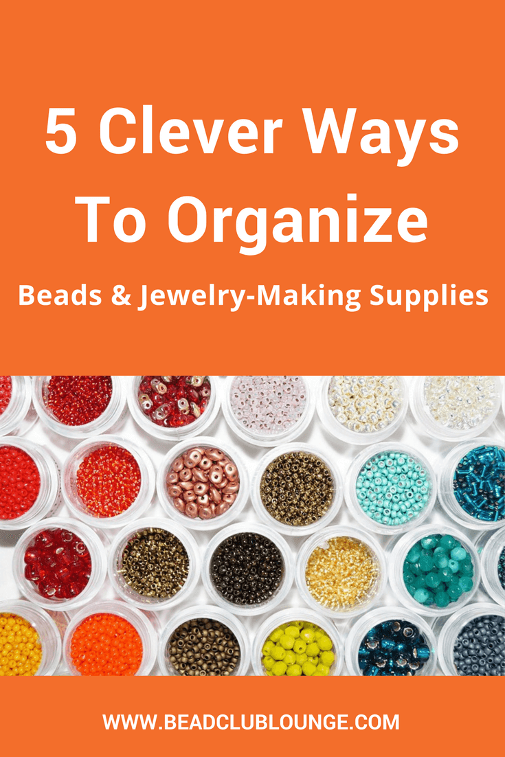 If you struggle to find your beading supplies because they're completely disorganized, these simple organization tips can help. Here's a list of storage ideas you can use to learn how to organize your beads, tools and other jewelry-making products even if you have a small space or just a few shelves or drawers for craft supplies. #beading #organization #craft #jewelrymaking