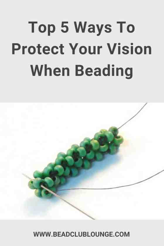 Bead weaving can be hard on your eyes. Staring at tiny beads for hours causes tired, achy eyes. Learn these five tips for protecting your vision when beading. #beads #beading #beadwork #jewelrymaking #thebeadclublounge
