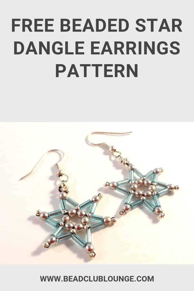 Learn how to make these fun beaded star dangle earrings for Christmas using this simple tutorial in English with pictures. You'll just need a few materials to create this DIY project for beginners. Handmade jewelry makes a lovely gift so you can make several pairs of these quick and easy designs for friends and family. Click here for the step by step beading pattern. #earrings #earringshandmade #earringsdiy #beading #jewelrymaking #jewelrytutorial #tutorials #freepattern