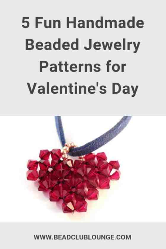 Try these five handmade beaded jewelry tutorials for Valentine's Day. Each one is a video tutorial and most are great for beginners. This list includes beaded heart projects, earrings and beaded bracelets so there's something for everyone. #valentinesday #valentinesdaycraft #beadedjewelrypatterns #beadweaving